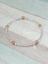 Sterling Silver & Rose Gold Beaded Stretch Noodle Bracelet