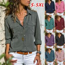 Women Long Sleeve Lapel T Shirt V Neck Casual Tops Loose Blouse Pocket Tunic