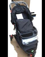 New BabyStart Deluxe 3 Wheeler Baby Pushchair Black with Raincover & Footmuff