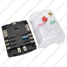 6 Way BLADE FUSE BOX / BUS BAR CON COPERTINA-MARINE KIT AUTO BARCA pesante 12V 24V