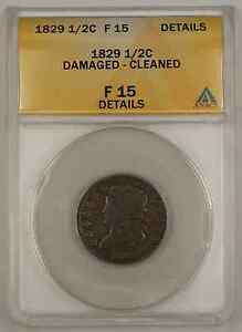 1829 Classic Head Half Cent Coin ANACS Damaged Cleaned F-15 Details