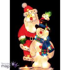 45cm Schneemann Weihnachtsmann Fensterbild LED Beleuchtung Weihnachten
