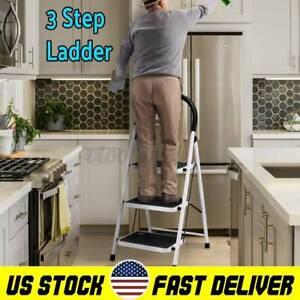 Protable 3 Step Ladder Anti-Slip Mat Folding Strong Safe Stool DIY Safety Home