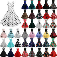 Women's Pinup  Vintage 1950s 60s Rockabilly Evening Prom Swing Dress Plus Size
