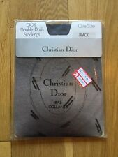 Vintage Christian Dior Nylon Black Double Dash Stockings Size 8.5-11 US 6.5-9 UK