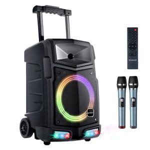 Mobile DJ PA Anlage Karaoke Lautsprecher Akku Box Mikrofon USB SD Bluetooth 500W
