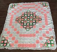 "Handmade Crochet 3D Pink Rose Flowers Granny Square Afghan Blanket 69x79"" Queen"
