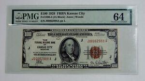 1929 $100 Federal Reserve Bank of Kansas City Fr.1890-J - PMG Choice UNC 64