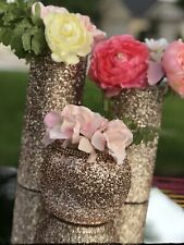 Lot Of 12 Rose Gold 4 inch Bubble  Vase Glitter wedding decor table center piece