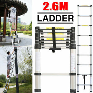 Telescopic Loft Ladder 2.6M Extendable Collapsible Step Ladders Securing Bolt UK