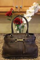 COACH HAMPTON #10213 Brown Pebbled Leather Carryall Satchel Handbag Purse (PU170