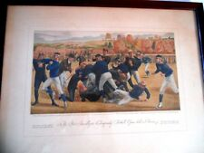 "1930 Currier&Ives Print ""First Collegiate Football Game Played in America 1876"""