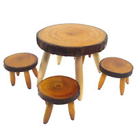 5Pcs/Set 1/12 Dollhouse Miniature Wooden Furniture Dining Table Chair Dolls