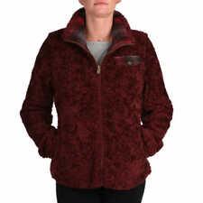 NWT Pendleton Women's Fuzzy Zip Dark Red Jacket Coat SMALL Full Zip Plaid NEW