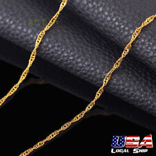2.5mm 24k Gold Plated Twisted Singapore Chain Necklace 20inch For Men Women Gift