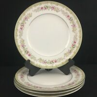 Set of 4 VTG Dinner Plates by Meito Kenwood Floral Sprays Platinum Japan