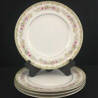 Set of 4 VTG Dinner Plates by Meito Kenwood Floral Sprays Platinum Japan