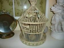 Rare Victorian Wicker Rattan Floral Barbola Birdcage Steiff Bird Music box