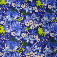Cotton Hawaiian Print Fabric 58 inches width sold by the yard Royal Blue