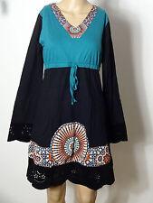 Kleid Gr. M schwarz-petrol-blau knielang Empire Muster Kleid Lochstickerei NEU