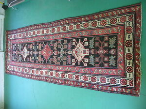 Antique Caucasian long rug knotted wool Southern Caucasus Karabagh Azerbaijan