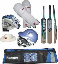 Ss Waves English Willow Cricket Bat with Pad, Gloves, Helmet Free Hat, Kit Bag