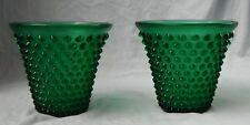 "Matching pair Vintage Fenton Forest Green Hobnail 5-3/4"" vases - 1 imperfect"