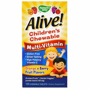 Nature's Way, Alive! Children's Chewable Multi-Vitamin, Orange + Berry Fruit