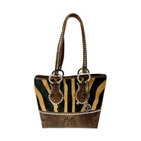 Raviani Tote Bag In Brown Tiger print Hair On & Croco Leather & Crystal