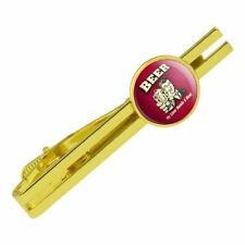 Beer My Liver Needs a Hug Funny Round Tie Bar Clip Clasp Tack Gold Color Plated
