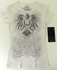 NWT TOKU White Grey Short Sleeve T-Shirt w/Black Beaded Eagle LG Junior  MG2