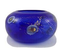 "Cobalt Blue Glass Hand Painted Votive Holder 4"" x 2.5"""