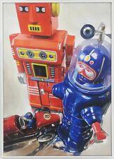 Giampaolo Frizzi At Work serie robot toys quadro olio su tela con autentica 2019