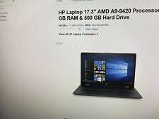 HP LAPTOP 17.3 AMD A9-9420 PROCESSOR 4GB RAM 500 GB HARD DRIVE  MOD# 17AKO 10NR