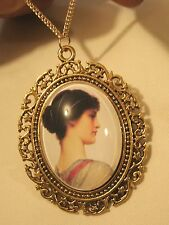 Lovely Swirled Rim Goldtone Portrait of Greek Goddess Muse Pendant Necklace