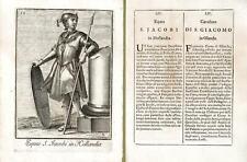Incisione antica originale Cavaliere di San Giacomo in Olanda  1711