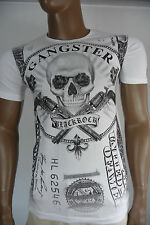 Herren T-Shirt BLACKROCK Skull Totenkopf Gangster Kurzarm weiß Gr. M