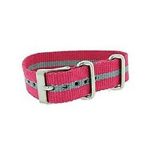 NEW-TIMEX 16MM WEEKENDER PINK+GRAY STRIPE NYLON REPLACEMENT BAND,STRAP T7B965TV