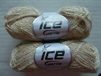 Metallic wool blend yarn by Ice Yarns, cream/gold, lot of 2, (110 yds each)