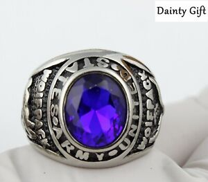Men Women Blue Agate Stone US Army Silver Titanium Stainless Steel Ring 8-12