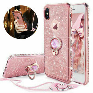 For Samsung A12 A21s S21 S20 S9 S10 Glitter Case Ring Stand Holder Phone Cover
