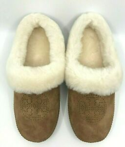 Tory Burch NEW Coley Perforated Logo Tan/Natural Suede Shearling Slipper US 7 8