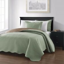 3-piece Sage Taupe Pinsonic Quilted Reversible Bedspread Set King Size