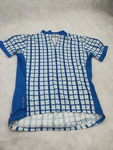 MENS LARGE -  PRIMAL CYCLING BICYCLE BIKE JERSEY BLUE and WHITE