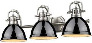 "Golden Lighting 3602-BA3-PW Black Duncan 3-Light 25""W Bathroom Vanity Light"