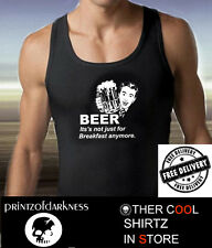 FUNNY MENS BEER  DRINKERS PRINT  BLACK SINGLET  S M L XL XXL FREE POST