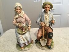 Homco Figurines Pair Of 8� Statues. Old Man & Woman #1433. Excellent Condition.