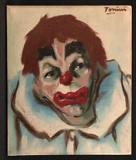 1960s Painting Sad Clown, Scary Clown, Signed Tomini, Painted in Holland, Oil