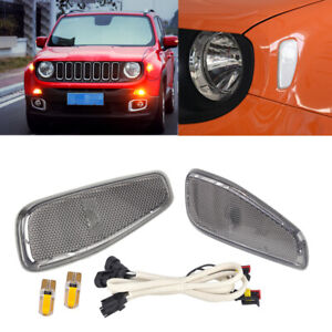 Useful 2x Side Marker Lamp Cover with LED Lamp Cable Fit for Jeep Renegade 15-16