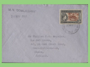 Gilbert & Ellice 1950 2d KGVI on M V Comliebank Ship cachet cover, Christmas Is.